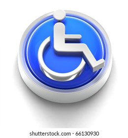 3D render concept illustration of button with Handicap sign
