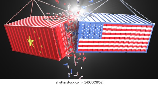 3d render Concept of USA and China trade war. America and china flags crashed containers on black background.
