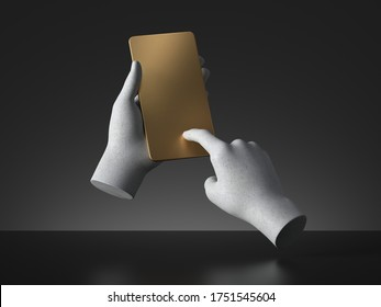 3d render concrete mannequin hands hold golden card, electronic device smart phone, isolated on black background. Minimal premium design. Body parts. Remote control. Futuristic gadget blank mockup