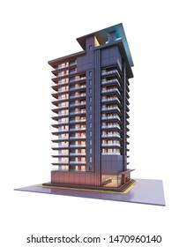 3d render Condominium building isolate on white background
