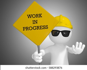 3D render of a construction worker holding a Work In Progress sign