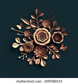 3d render, copper flowers, paper craft decor, rose gold, floral bouquet isolated on dark background, botanical arrangement, artificial nature elements, handmade quilling craft, decorative clip art