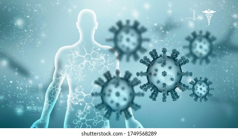 3d render Corona virus disease COVID-19. Microscopic view of a infectious virus
