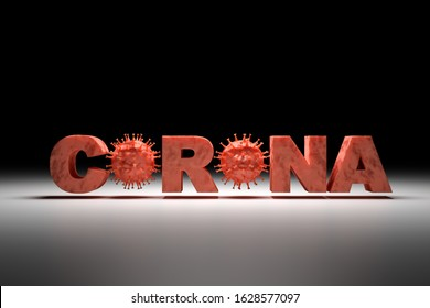 "3D render: Corona virus - Schematic image of viruses of the Corona family embedded into the text ""CORONA""."