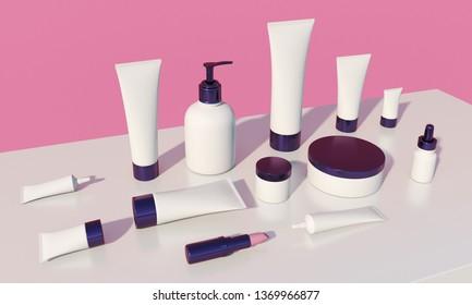 3d render of cosmetic bundle for skin hair care. Big white plastic package set. Trendy branding kit mock up.