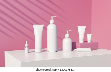3d render of cosmetic bundle for skin hair care. White plastic package in row on bright millenial pink background. Sunny still life beauty branding set with fern shadows. Salon products mock up.