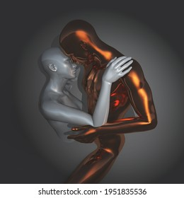3D render of a couple in an embrace