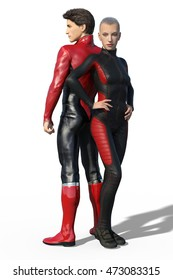 3d render of a couple of super heroes in black and red leather suit isolated on white