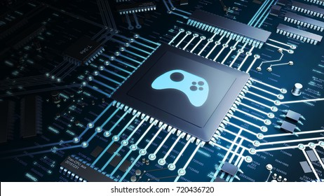3D render of a cpu with gaming symbol in a blue light shade, representing the Computer gaming industry and entertainment.