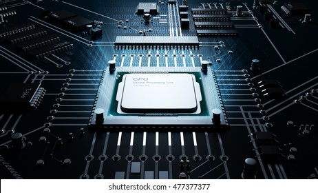 3d render of a CPU rendering information in binary, high resolution 3d illustration.