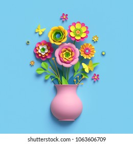 3d render, craft paper flowers, pink vase, floral bouquet, botanical arrangement, bright candy colors, nature clip art isolated on sky blue background, greeting card template