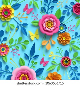 3d render, craft paper flowers, floral pattern, botanical ornament, bright candy colors, nature clip art isolated on sky blue background, decorative embellishment