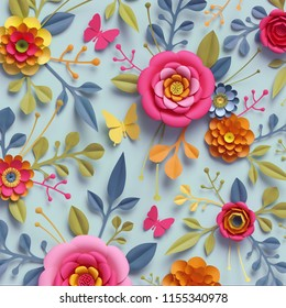 3d render, craft paper flowers, fall botanical wallpaper, thanksgiving floral bouquet, bright autumn colors, nature clip art isolated on pale blue background, decorative embellishment