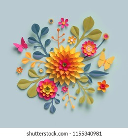 3d render, craft paper flowers, fall botanical arrangement, festive floral bouquet, bright autumn colors, nature clip art isolated on pale blue background, decorative embellishment