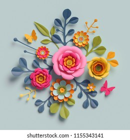 3d render, craft paper flowers, autumn botanical arrangement, festive floral bouquet, bright candy colors, nature clip art isolated on pale blue background, decorative embellishment