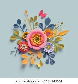 3d render, craft paper flowers, autumn botanical arrangement, festive floral bouquet, bright fall colors, nature clip art isolated on pale blue background, decorative embellishment