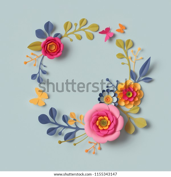 3d render, craft paper flowers, autumn round wreath, festive floral bouquet, botanical arrangement, bright candy colors, nature clip art isolated on sky blue background, decorative embellishment
