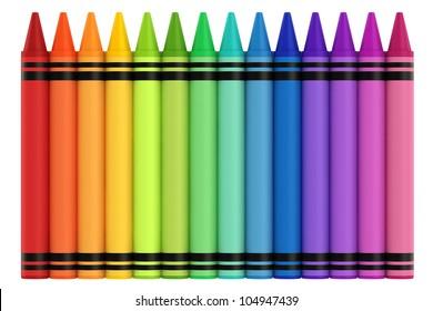 3d render of crayons
