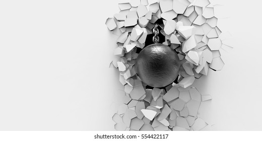 3d render. Creative background concept: metal wrecking ball smashes the wall