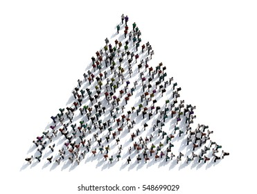 3D render crowd of people on white background from top view ,bird eye view