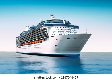 3d render of cruise ship on perfect blue sea
