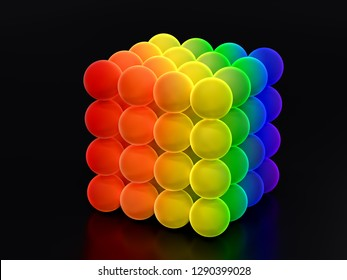 3D render of cube formed from glowing balls in rainbow colors on black background