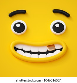 3d render, cute childish face, smile with golden tooth, amazed emotion, emoji, emoticon, funny yellow monster