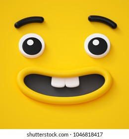 3d render, cute childish face, toothless smile, amazed emotion, emoji, emoticon, funny monster