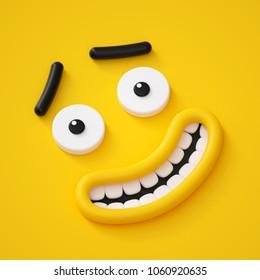 3d render, cute childish face, smile, amazed emotion, emoji, emoticon, funny monster