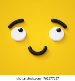 3d render, cute emotional cartoon face, shy smiley kid, adorable smile, dreamer, emoticon, emoji