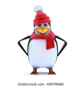 3d render of a cute penguin in cartoon character style wearing a red wooly hat and scarf and standing with his hands on his hips