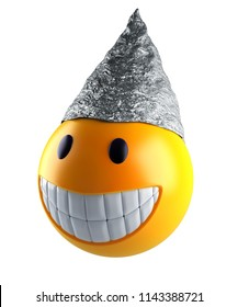 3d render of a cute smile sphere with tin foil hat