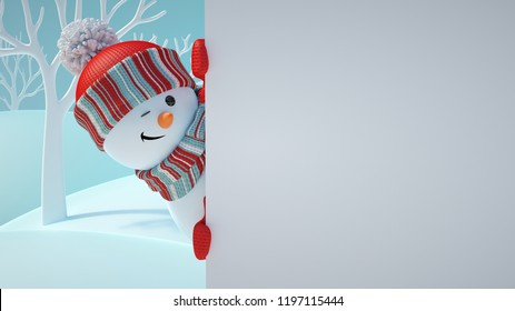 3d render, cute snowman blinking, playing hide and seek, looking out the corner, holding blank banner, white page, Christmas background, New Year, greeting card, space for text, winter landscape