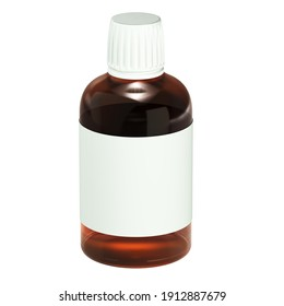 3d render of the dark orange plastic medical containers - a bottle on a white background