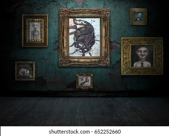 3D render of a dark room with antique frames hanging on the wall. All artworks on the wall are digital paintings, also available on Shutterstock.