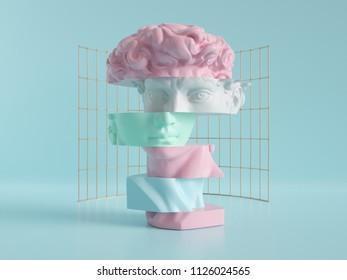 3d render, david head, face parts, blocks, beauty concept, pastel colors fashion background