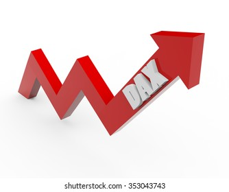 3d render DAX stock market index in a red arrow on a white background.
