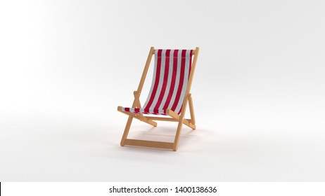 3D Render: Deck chair isolated on white background