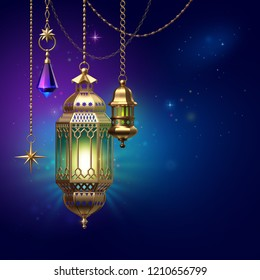 3d render, decorative lanterns hanging on golden chains, glowing light, arabic traditional decor, tribal festive decoration, Ramadan Kareem, greeting card, starry night background, illustration