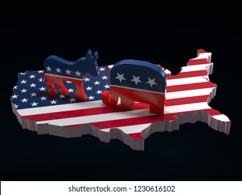 3D render of Democrats Donkey vs Republicans Elephant symbols on USA map with superimposed American flag