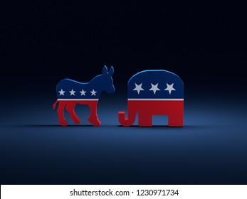 3D render of Democrats Donkey vs Republicans Elephant symbols on dark blue background