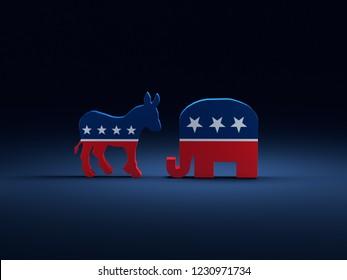 3D-Rendering von Demokraten Donkey gegen Republikaner Elefantensymbole auf dunkelblauem Hintergrund