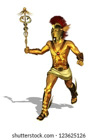 3D render depicting the Greek God Mercury, messenger of the gods, the god of trade, merchants and travel.