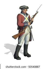 3D render depicting a soldier from the American Revolution.