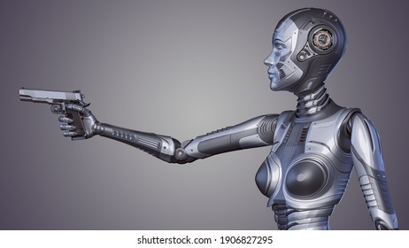 3d render of detailed robot woman or cyber girl threatening with a gun. Upper body isolated on color background