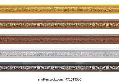 3d render of Different samples of classical cornices with patterns on a white background