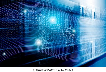 3d render digital code and light beams moving inside high-speed server equipment. The concept of the rapid transmission and processing of big data