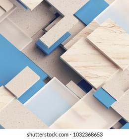 3d render, digital illustration, abstract geometric background, marble and glass blocks, interior decorative panels, bricks, tiles, fragments, pattern
