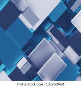 3d render, digital illustration, abstract geometric background, blue tiles, panels, flat layers, fragments, pattern