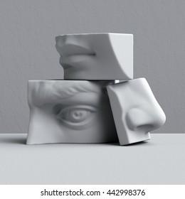3d render, digital illustration, abstract alabaster blocks, eye, nose, lips, mouth, anatomy sculptural face details, David sculpture parts